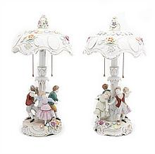 Two German Porcelain Figural Lamps, Height of each 19 1/2 inches.