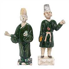 Two Tang Style Pottery Figures, Height of taller 13 1/2 inches.