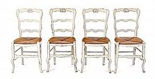Four French Provincial Painted Side Chairs, Height 34 inches.