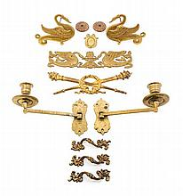 A Collection of Continental Bronze Hardware, Width of widest 7 inches.