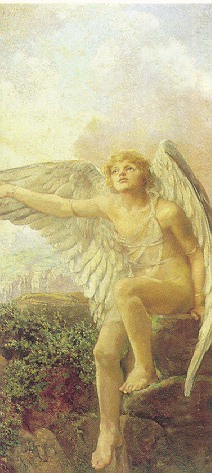 ANNA LEA MERRIT (AMERICAN, 1844-1930) ICARUS PREPARING TO FLY
