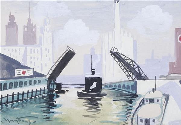 Josef Pierre Nuyttens, (American, 1885-1960), Chicago Harbor