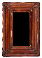 An Embossed Leather and Nailhead Trim Mirror Height 31 1/2 x width 21 1/2 inches.