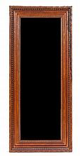 An Embossed Leather and Nailhead Trim Mirror Height 70 3/4 x width 30 1/2 inches.