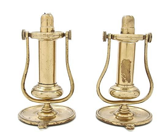 * A Pair of Brass Nautical Sconces, Height 7 1/4 inches.