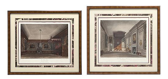 A Set of Six English Handcolored Engravings, Height overall 14 3/8 x width 15 1/2 inches.