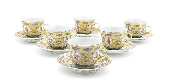 A Set of Six Chinese Porcelain Cups and Saucers, Diameter of saucer 5 1/4 inches.