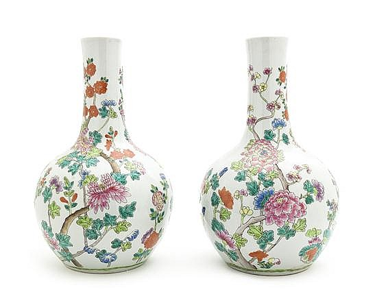 A Pair of Chinese Porcelain Vases, Height 14 inches.