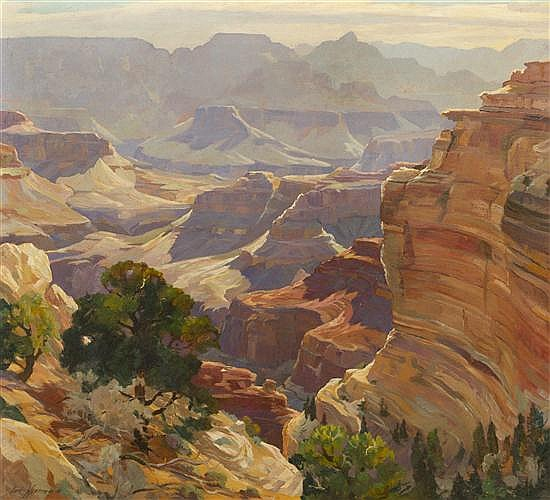 Carl Hoerman, (American, 1885-1955), Mounting Sun, Grand Canyon, Arizona