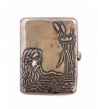 * A Russian Art Nouveau Silver Snuff Box, Height 3 inches.