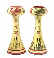 * A Pair of Royal Dux Art Nouveau Pottery Vases, Height 13 1/2 inches.