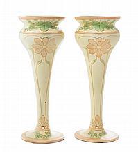 * A Pair of Royal Dux Art Nouveau Porcelain Vases, Height 13 1/2 inches.
