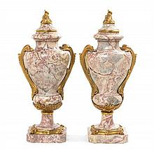 A Pair of Louis XV Style Gilt Bronze Mounted Marble Urns Height 20 1/2 inches.