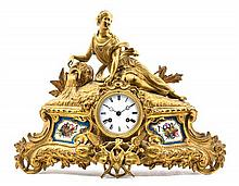 A Sevres Style Porcelain Mounted Gilt Bronze Figural Mantle Clock Height 13 1/2 inches.