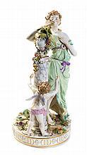A German Porcelain Figural Group CARL THIEME, 19TH CENTURY Height 24 1/2 inches.