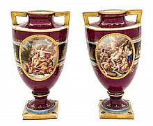 A Pair of Royal Vienna Porcelain Urns Height 7 1/2 inches.