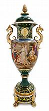 A Royal Vienna Gilt Bronze Mounted Porcelain Urn, Cover and Stand Height 33 1/4 inches.
