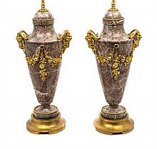 A Pair of Neoclassical Style Gilt Bronze Mounted Marble Urns 20TH CENTURY Height overall 30 1/2 inches.