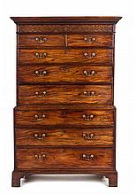 * A George III Chippendale Style Mahogany Chest on Chest Height 69 x width 45 1/2 x depth 23 1/4 inches.