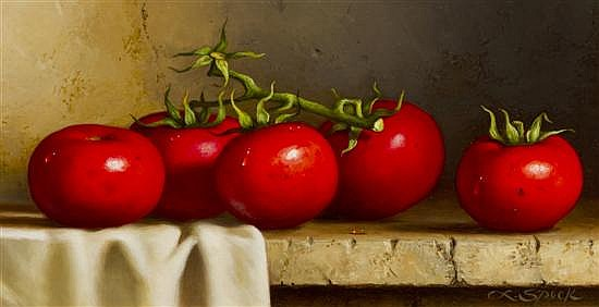 Loran Speck, (American, b. 1943), Tomatoes on Shelf