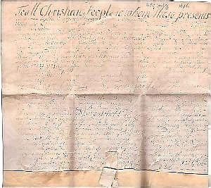 [ Americana ] Vellum Deed, 1p. folio, July 4, 1696, New York City, being a deed for property for Heyetie Clopper, a widow, for several lots left by