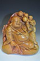 Carved Soapstone Model of A Seated Buddha & Boys