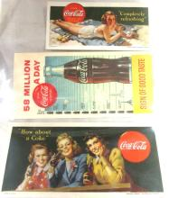1942 Wholesome Refreshment (Two Boy Scouts), 1942 Completely Refreshing, 1944 How About a Coke (Three Girls) Blotters, EC