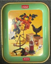 1957 French rooster and bouquet Coke Tray, all Original, EC