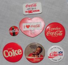 Seven Vintage Coca Cola Badges, EC