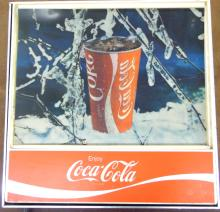 1970's Light up screened plastic sign coca cola, VGC