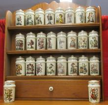 M I Hummel 24 Piece Porcelain Spices Jars with Lids and Rack 1987 Vintage White, plus two extras, EC