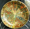 Folk Art Antique Cigar Labels Bowl with Angel Center, 5 1/4
