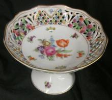 Schumann Dresden Bavaria Small Porcelain Compote Multi Flower Cutout Design Compoite, 4