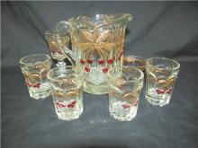 Vintage Mosser Childs Cherry Gilt Gold Pitcher,Four Glasses, Bowl and Stem, EC
