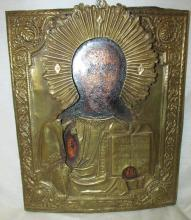 Antique Russian Orthodox Icon Jesus in Bronze 19th century, 9 x 11, EC