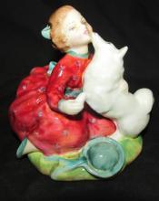 Royal Doulton HN2167 Home Again Porcelain Little Girl and Dog Figure 1955, 3 1/2