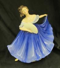 Royal Doulton Elaine Blue Bone China Dancing Lady Figurine HN 2791, Retired 2000, 7