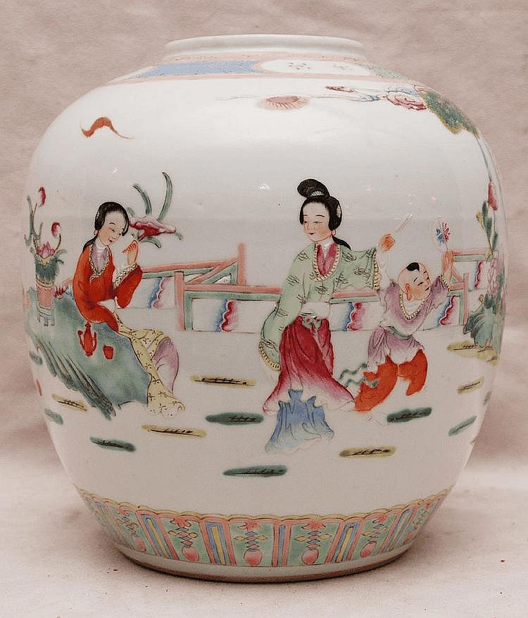 Rose famile Chinese ginger jar, missing lid, 9