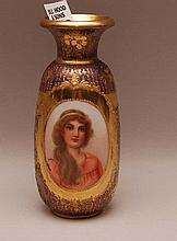 Royal Vienna hand painted portrait vase, signed, 5