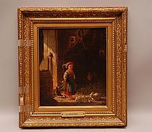 Oil painting farmyard scene, little child, bunnies, R. Grieves, English School, 19th c, 10