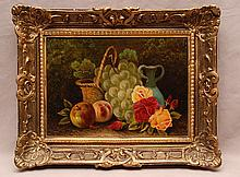American School oil on canvas, Still Life, signed illegibly lower left,  10