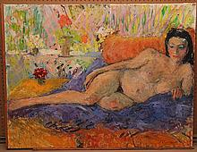 Inge Blomqvist  (Denmark 1923 - ) large oil on canvas reclining nude, 35