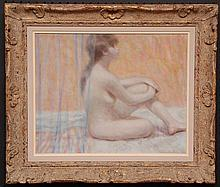 Andre Gisson (French, 1928-2003), oil on canvas, Seated Nude, signed upper left, canvas size is 16