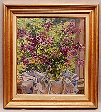 Russian Painting by Boris Nicolaiev, oil on canvas, still life flowers, 15