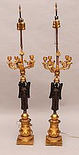Pair of 19th c. French Empire figural bronze 5 light candelabra, 36