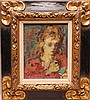Moses Soyer  (Russian 1899 - 1974)  oil on canvas, girl with lipstick, 8