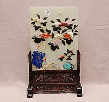 Chinese jade table screen decorated with hard stone in fitted wood frame