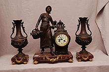 19th Century Garniture Set, 3 pc, figural white metal, painted porcelain face on marble base