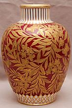 Crown Derby vase, gold leaves with red background, 9