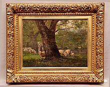Clark Crum  (New York late 19th century) oil on canvas, wooded landscape with figure and sheep, 12